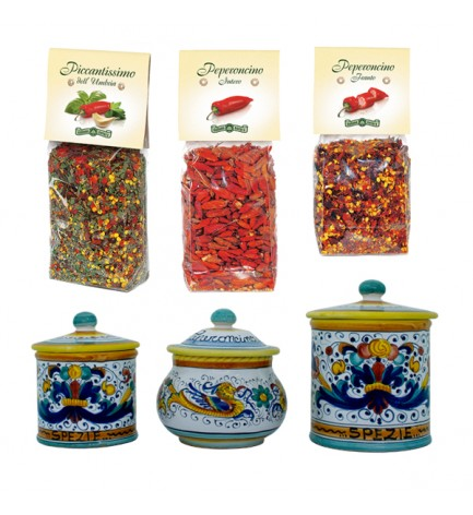 italian food Spicy combo: ceramics and spices