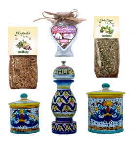 italian food BBQ ceramics and spices set