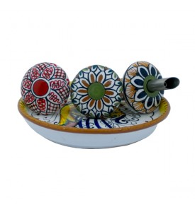 italian food Wine and Oil set - ceramics from Deruta