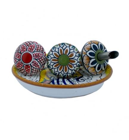 italian food Wine and Oil set - ceramics from Deruta
